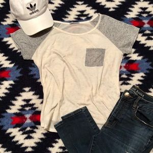 Charlotte Russe Tan and Gray Tee